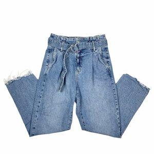 GARAGE Raw Hem Belted Jeans